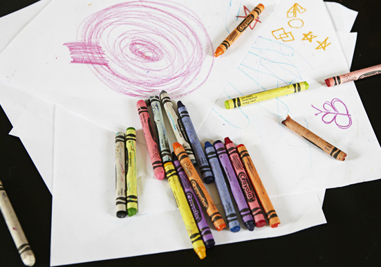 crayons with kids