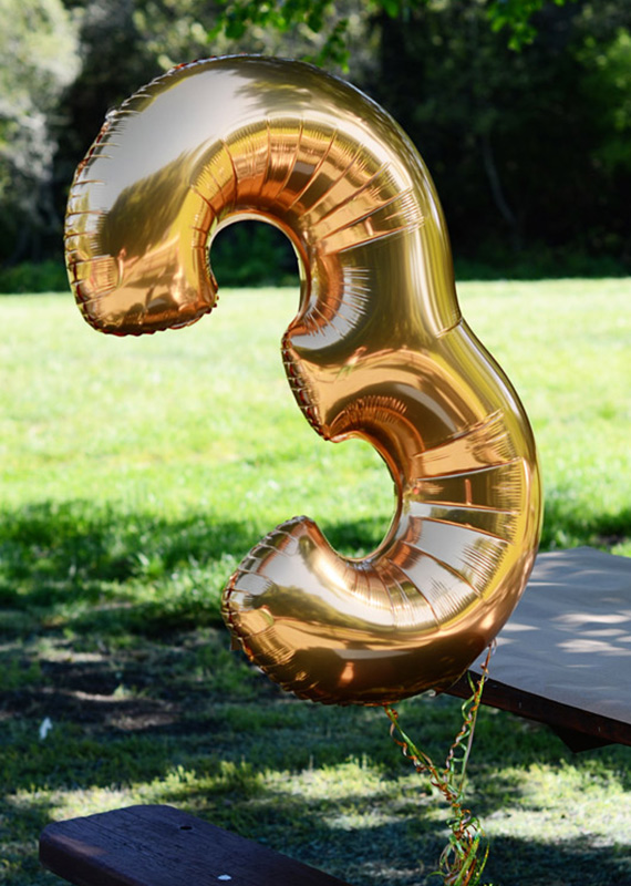 Gold mylar number birthday balloon  | 100 Layer Cakelet