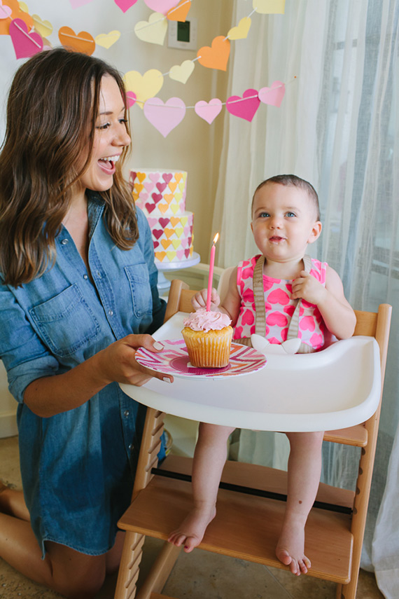 Heart-themed first birthday for Phoebe | Camille Styles | 100 Layer Cakelet