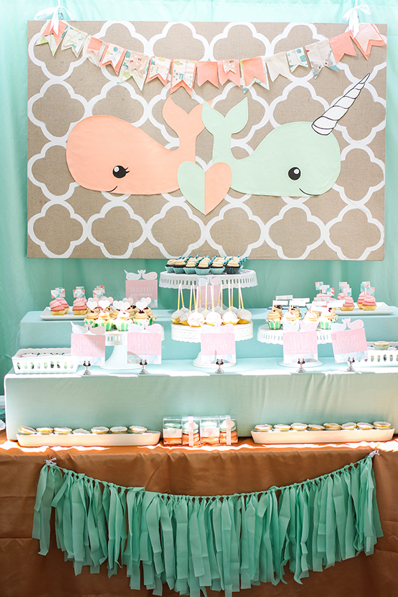 Peach mint twin baby shower baby showers 100 layer for Baby shower decoration ideas for twin boys