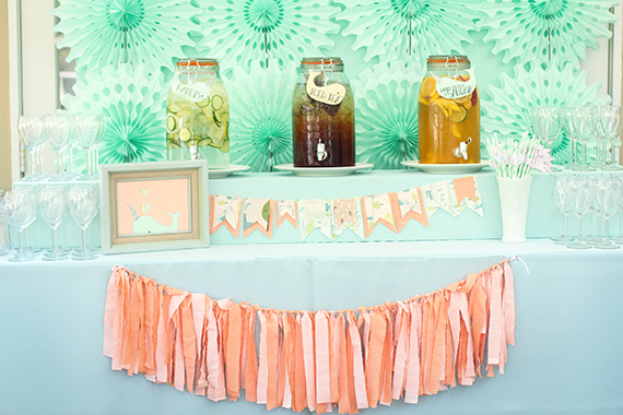 Peach Mint Twin Baby Shower Baby Showers 100 Layer