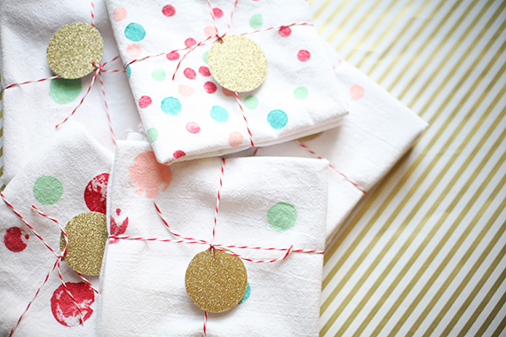 DIY handmade gift for kids | Potato stamped tea towels | 100 Layer Cakelet