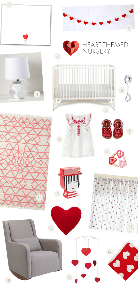 Modern heart-themed nursery | 100 Layer Cakelet