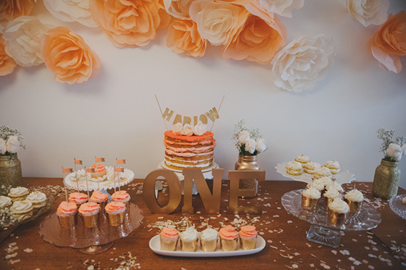 Peach and gold first birthday for Harlow | Jayme Lang | 100 Layer Cakelet