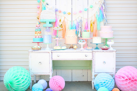 Minted & Vintage 2nd anniversary dessert table | 100 Layer Cakelet