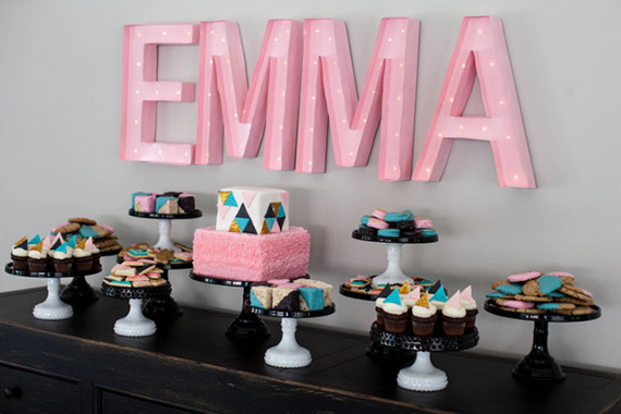 Modern geometric baby shower by Jenny Cookies | 100 Layer Cakelet