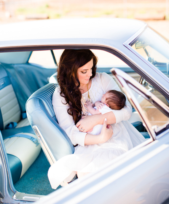 Vintage Mustang newborn photos by Acqua Photo | 100 Layer Cakelet
