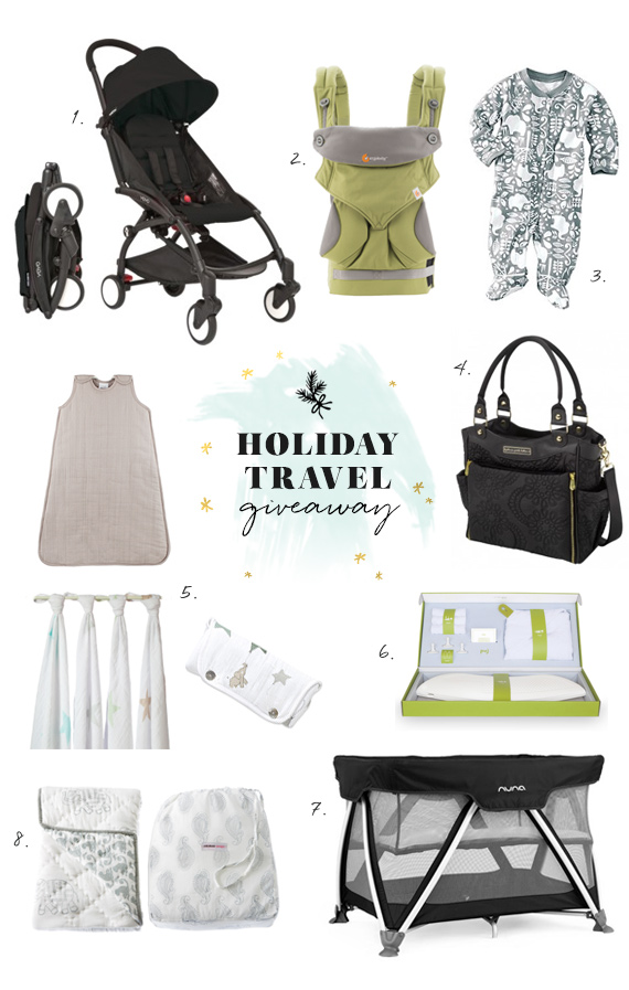 Holiday travel with baby giveaway on 100 Layer Cakelet | Featuring the Yoyo stroller, Nuna travel crib, Ergobaby 360, Aden and Anais gift pack, Petunia Pickle Bottom diaper bag, Puj travel tub, Hanna Andersson PJs, and Rikshaw playmat | Enter to win by 11/24 on 100layercakelet.com