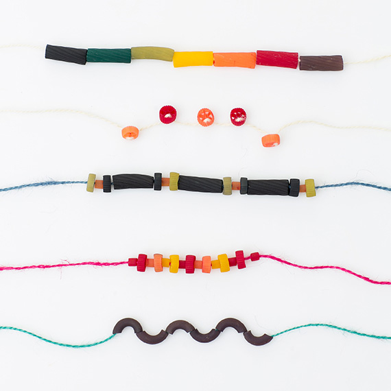DIY dyed pasta necklaces | photos by Scott Clark | See more on 100 Layer Cakelet