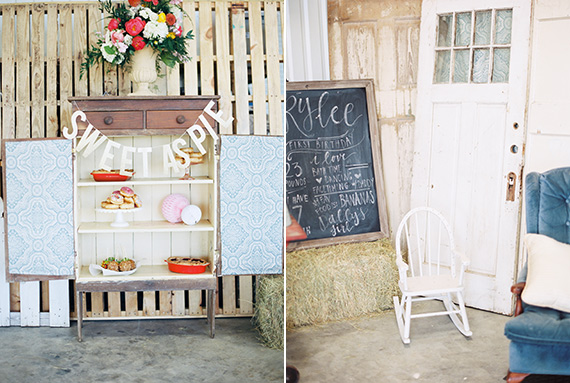 Twin girls 1st birthday party in Texas | Courtney Leigh Photography | Florals by Bramble and Bee | Styling by Lauren Jade Martin | See more on 100 Layer Cakelet