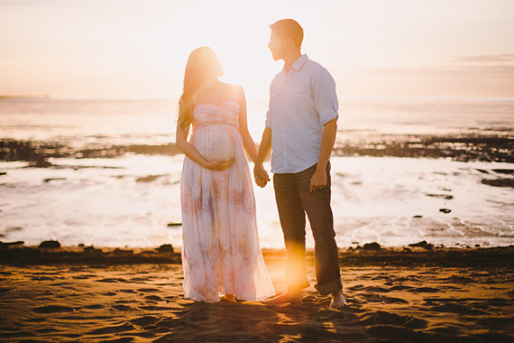 Romantic, beach maternity photos by Emmy Lou Virginia | 100 Layer Cakelet