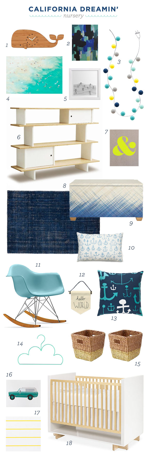 Modern nautical nursery design board | 100 Layer Cakelet
