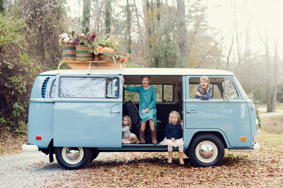 VW bus and flowers family photo shoot by Alea Moore Photography | 100 Layer Cakelet