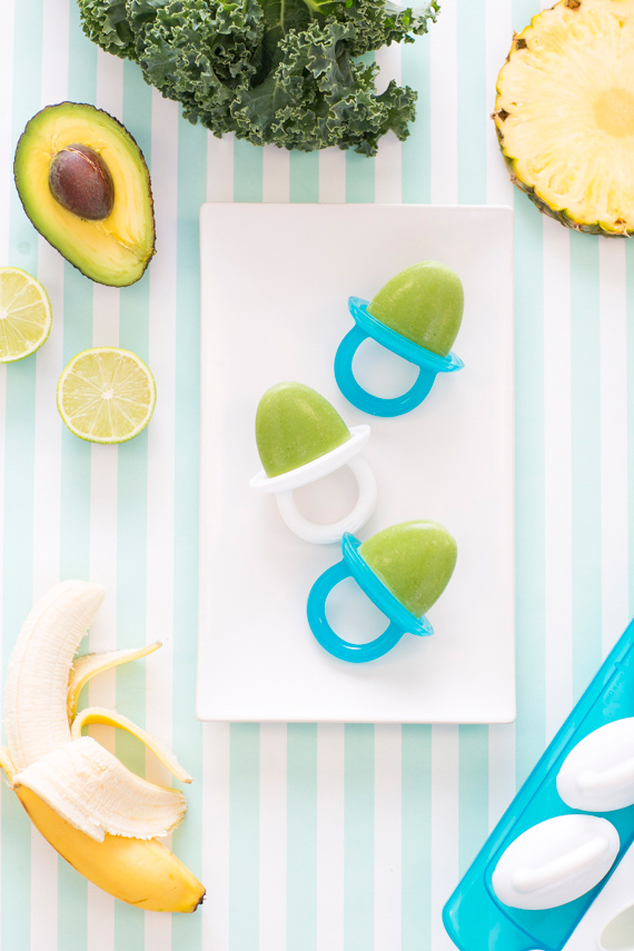 Tropical kale smoothie popsicles