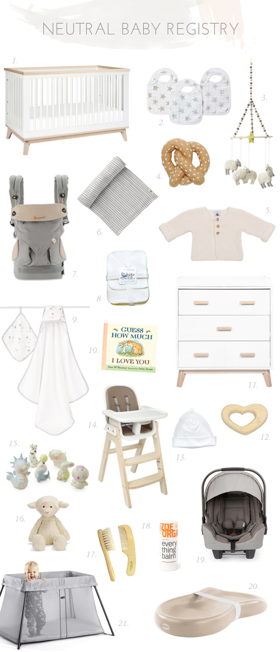 Neutral modern baby registry from Tiny Crane