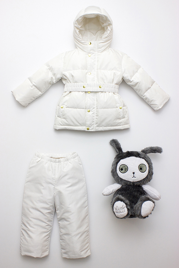 White snowsuit from Flora + Henri