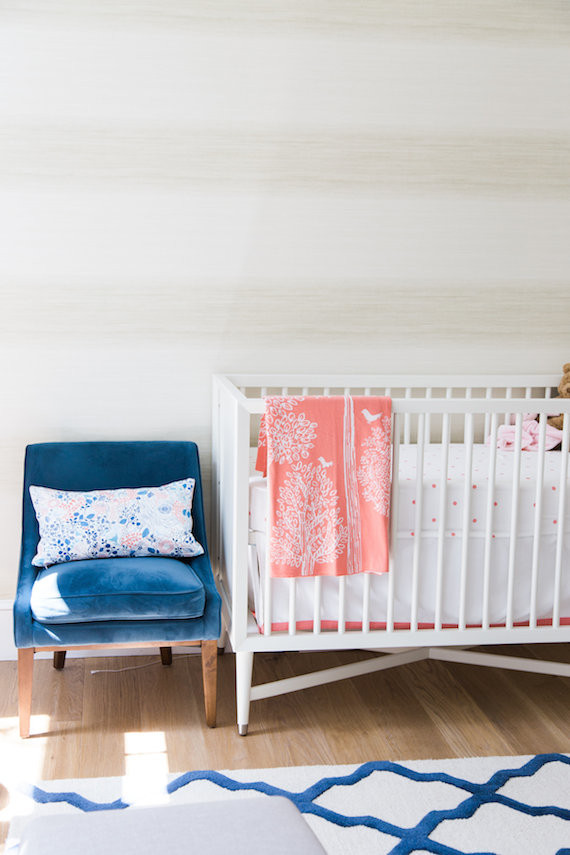 coral and blue nursery