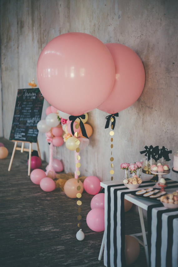 Pink and black first birthday