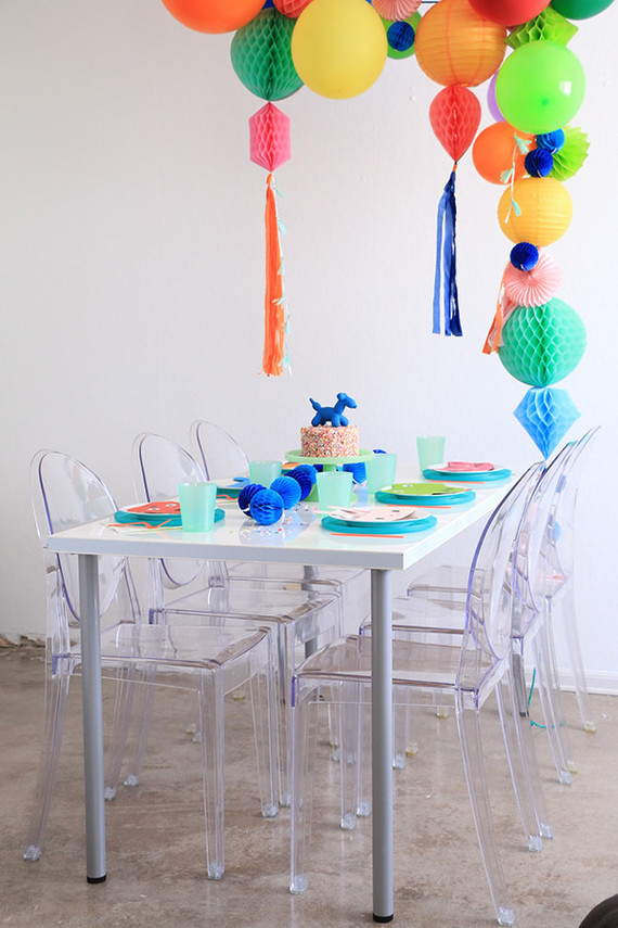 Bright modern kids birthday party and honeycomb garlands