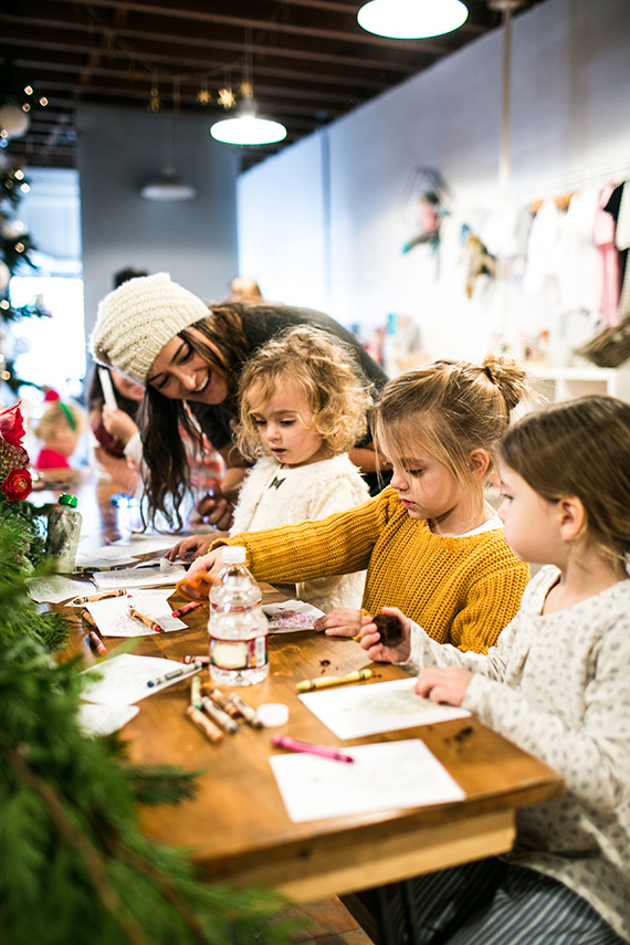Kids holiday playdate and toy drive at Ollie & Me