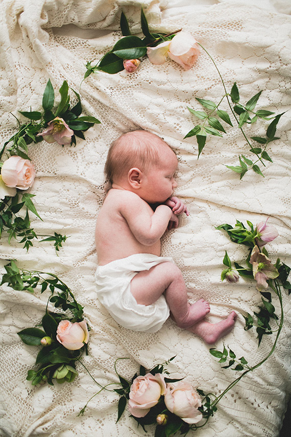 bohemian floral newborn photos