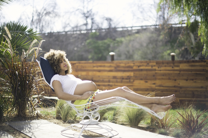 Hollywood poolside maternity photos by Max and Friends