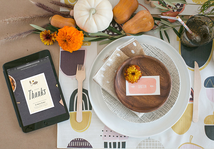 Kids Thanksgiving table with Minted and 100 Layer Cakelet
