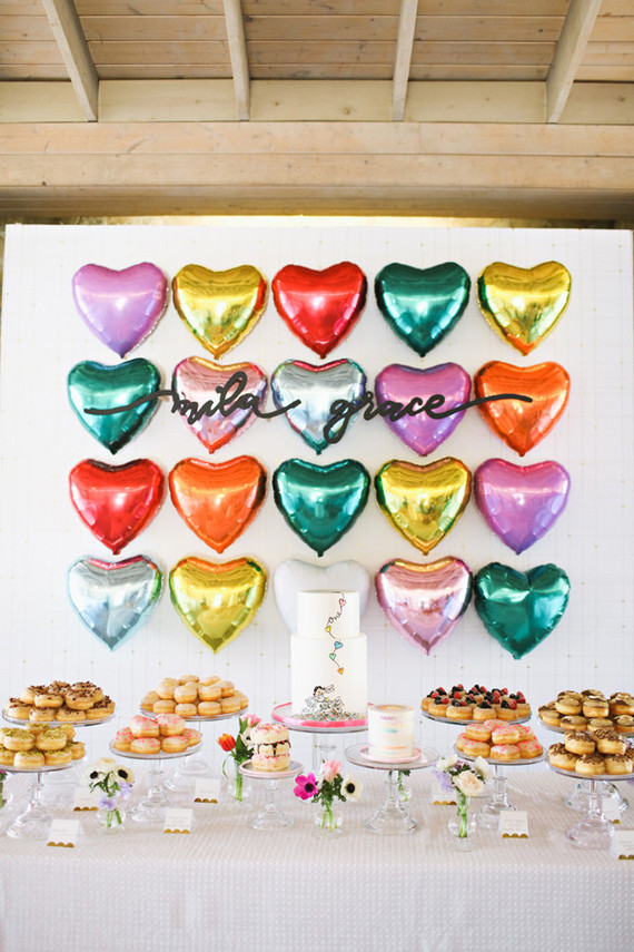 Rainbow heart balloons