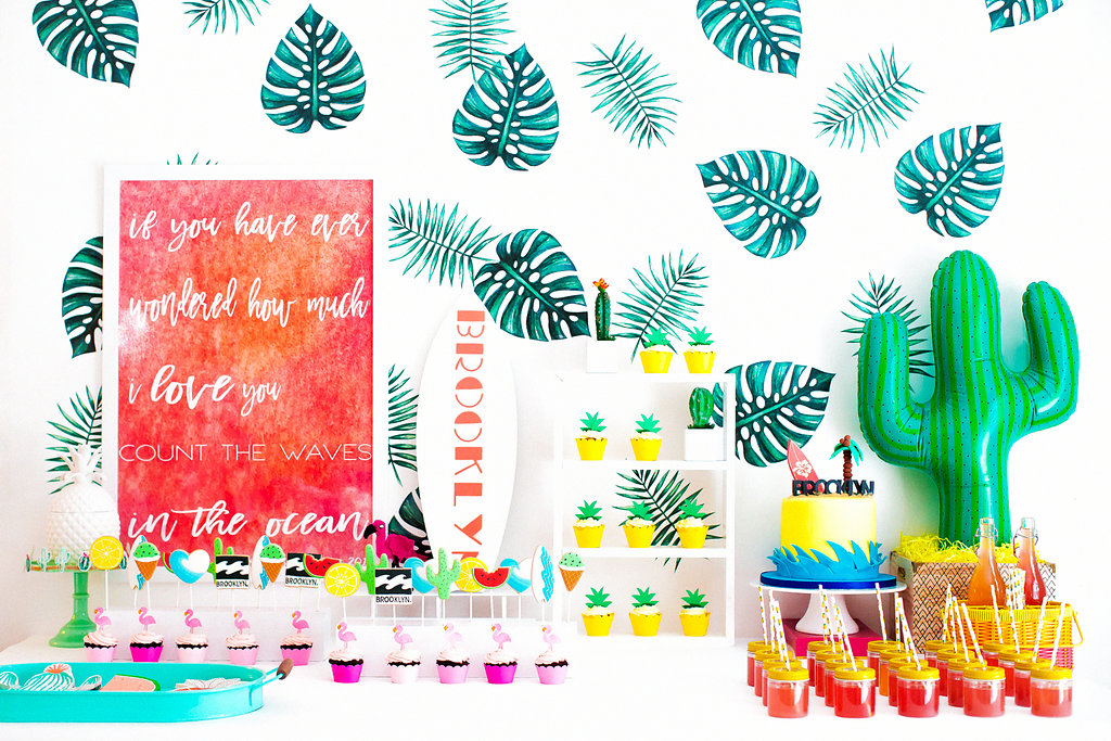 Modern tropical surf baby shower