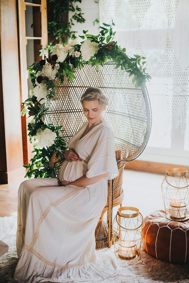 Boho botanical baby shower and maternity photos | 100 Layer Cakelet