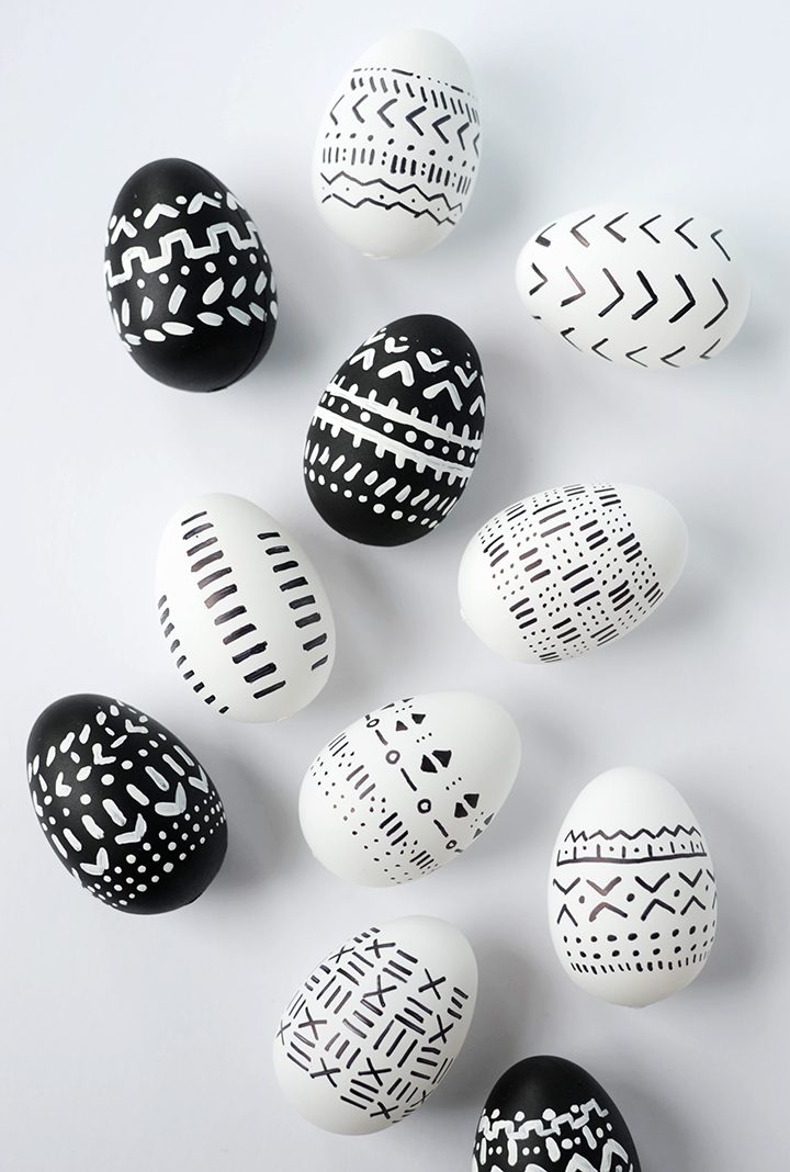 African mudcloth inspired Easter eggs