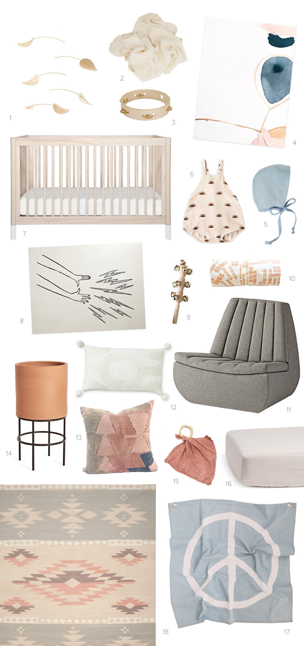 Earth toned girl's nursery