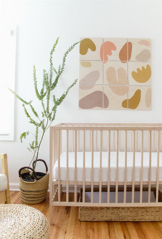 Earthy, modern pastels in a baby boy's nursery in Portland