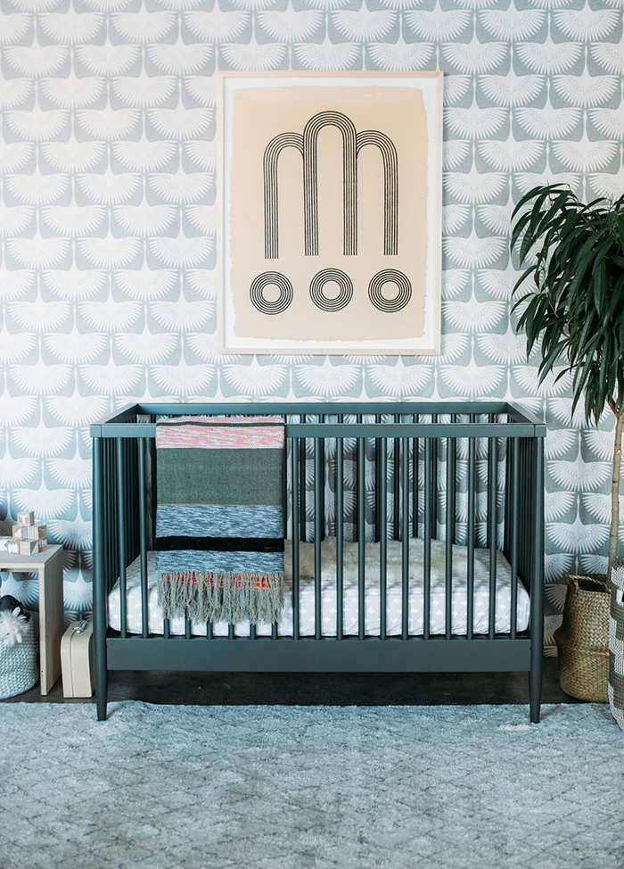 Sophisticated modern nursery with an olive green crib on 100 Layer Cakelet